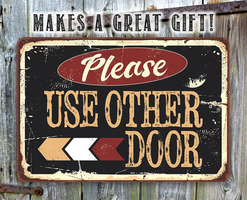 Image of Please Use Other Door Pointing Left - Metal Sign.