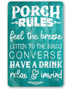 Porch Rules - Feel The Breeze, Listen to the Birds - Metal Sign Lone Star Art 8 x 12