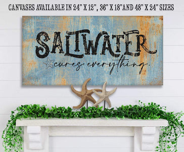 "Saltwater Cures Everything-Large Canvas(Not Printed on Metal)-Stretched on a Heavy Wood Frame-Ready to Hang-Headboard-Beach House Decor Wall Hangings Lone Star Art 12""x24"" Stretched"