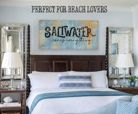 Image of Saltwater Cures Everything-Large Canvas(Not Printed on Metal)-Stretched on a Heavy Wood Frame-Ready to Hang-Headboard-Beach House Decor Wall Hangings Lone Star Art