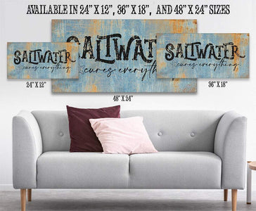 Saltwater Cures Everything-Large Canvas(Not Printed on Metal)-Stretched on a Heavy Wood Frame-Ready to Hang-Headboard-Beach House Decor Wall Hangings Lone Star Art