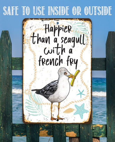 "Seagull with French Fry 8"" x 12"" or 12"" x 18"" Aluminum Tin Awesome Metal Poster."