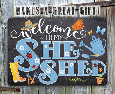 She Shed - Blue - Metal Sign.