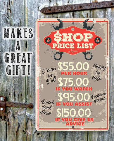 Image of Shop Price List - Metal Sign.