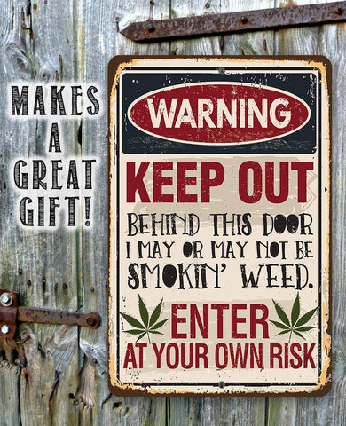 "Image of Smokin' Weed- Durable Metal Sign -8"" x 12"" or 12"" x 18"" Use Indoor/Outdoor -Man Cave Decor For Potheads Lone Star Art"