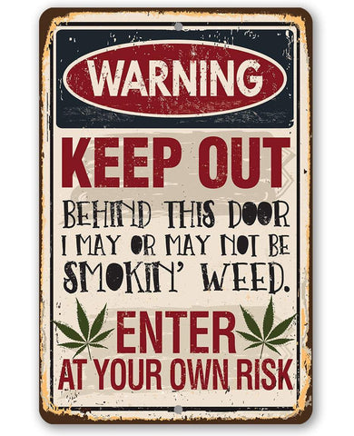 "Image of Smokin' Weed- Durable Metal Sign -8"" x 12"" or 12"" x 18"" Use Indoor/Outdoor -Man Cave Decor For Potheads Lone Star Art 8 x 12"