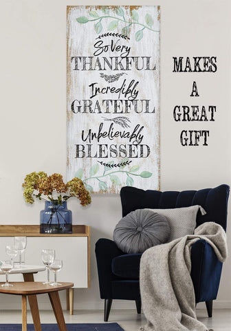 Image of So Very Thankful-Large Canvas(Not Printed on Wood)-Stretched on Heavy Wood Frame-Perfect Above Couch or Dining Room-Great Housewarming Gift Wall Hangings Lone Star Art