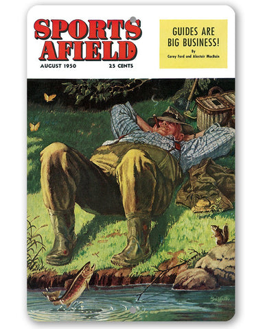 "Image of Sports Afield A Perfect Day of Fishing Cover Metal Sign - 8"" x 12"" or 12"" x 18"" Indoor/Outdoor -For Lake House Lone Star Art 8 x 12"