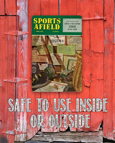 "Image of Sports Afield Fishing License Cover-Metal Sign - 8"" x 12"" or 12"" x 18"" Indoor/Outdoor -Beach House and Cabin Lone Star Art"
