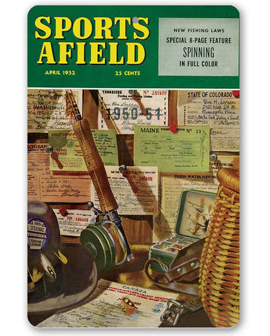 "Image of Sports Afield Fishing License Cover-Metal Sign - 8"" x 12"" or 12"" x 18"" Indoor/Outdoor -Beach House and Cabin Lone Star Art 8 x 12"