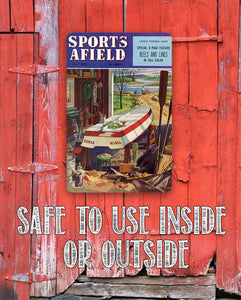 Sports Afield Lake Boat House Cover - Metal Sign.