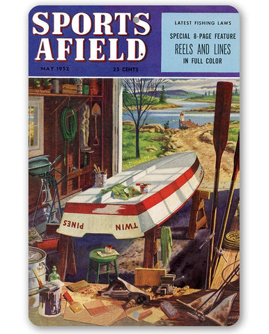Image of Sports Afield Lake Boat House Cover - Metal Sign.