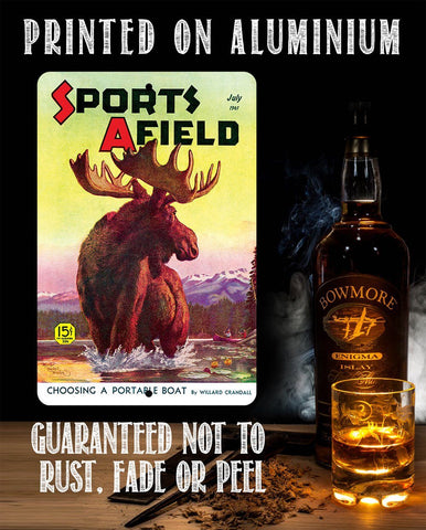 Image of Sports Afield Lake Moose Cover - Metal Sign.