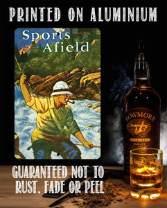 Sports Afield Mountain Fly Fishing Cover - Metal Sign.