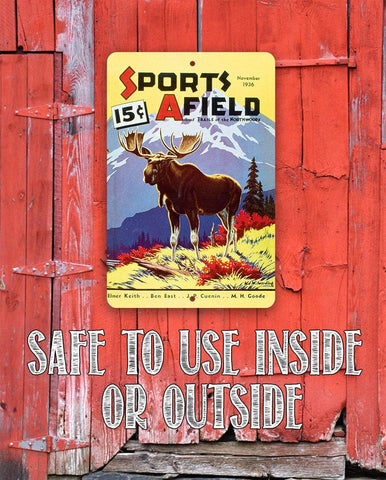 Image of Sports Afield Mountain Moose Cover - Metal Sign.
