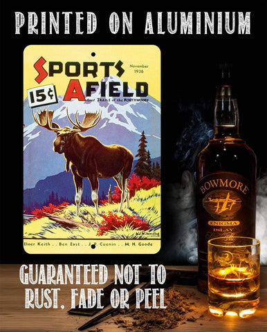 Sports Afield Mountain Moose Cover - Metal Sign.