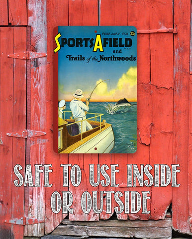 Image of Sports Afield Pulling in a Sword Fish Cover - Metal Sign.