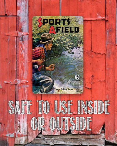 Image of Sports Afield Stream Fishing Cover - Metal Sign.