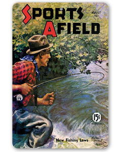 Sports Afield Stream Fishing Cover - Metal Sign.