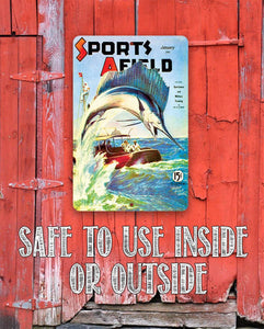 "Sports Afield Sword Fish Cover Metal Sign - 8"" x 12"" or 12"" x 18"" Indoor/Outdoor - Decor for Lake House Lone Star Art"