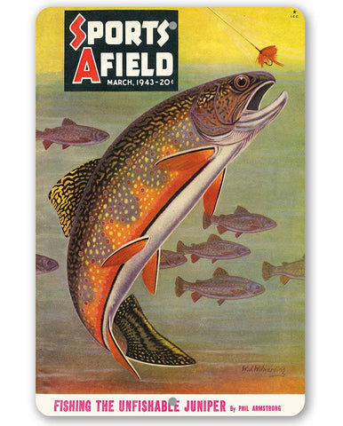 Sports Afield Trout Fishing Cover - Metal Sign.