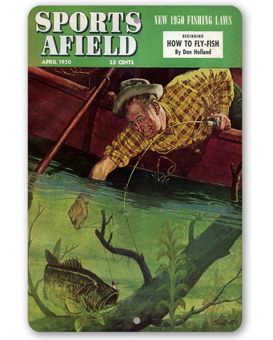 Sports Afield Trying to Catch the Big One Cover - Metal Sign.