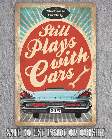Image of Still Plays With Cars - Metal Sign.