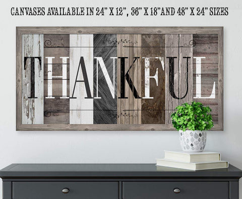 Image of Thankful in Multi Pattern - Canvas.