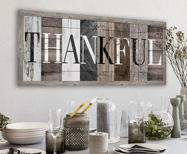 Thankful in Multi Pattern - Canvas.