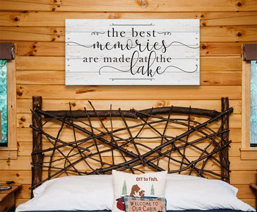 The Best Memories Lake - Large Canvas - Perfect Above Couch - Great Housewarming Gift and Lake House Decor Lone Star Art