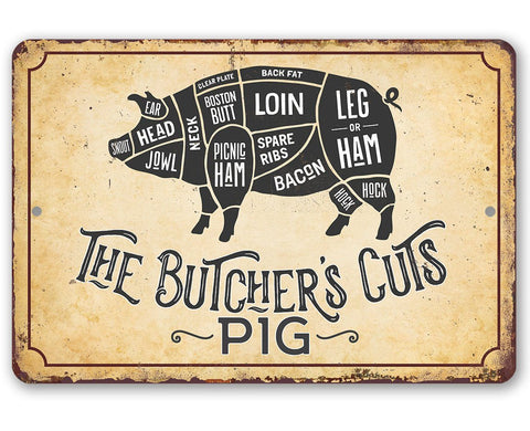 Image of The Butcher's Cut PIG - Metal Sign Metal Sign Lone Star Art 8 x 12