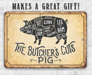 The Butcher's Cut PIG - Metal Sign Metal Sign Lone Star Art