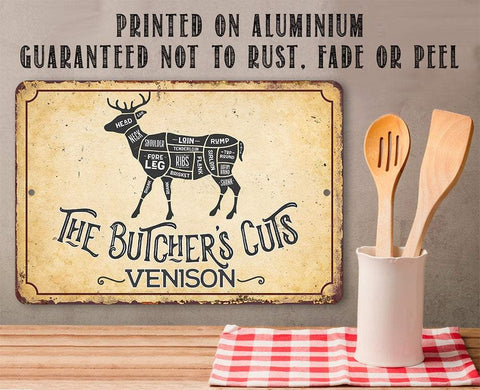 Image of The Butcher's Cut VENISON - Metal Sign Metal Sign Lone Star Art