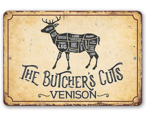 Image of The Butcher's Cut VENISON - Metal Sign Metal Sign Lone Star Art 8 x 12