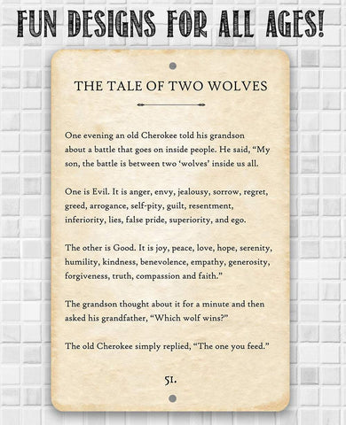 Image of The Tale of Two Wolves - Metal Sign.