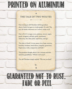 The Tale of Two Wolves - Metal Sign.