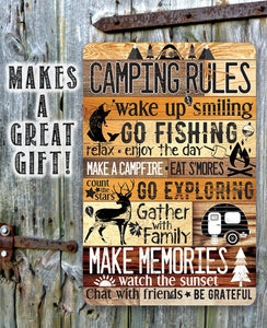Camping Rules - Metal Sign.