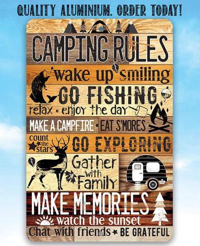 Image of Camping Rules - Metal Sign.
