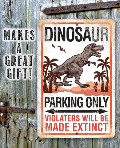 "Image of Tin - Dinosaur Parking - Durable Metal Sign - 8""x12"" or 12""x18"" Use Indoor/Outdoor - Funny and Cool Parking Area Decor Lone Star Art"