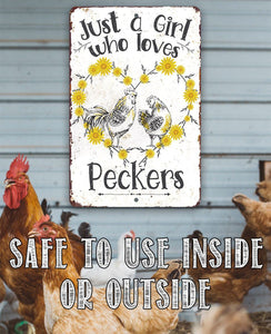"Tin - Just A Girl Who Loves -Metal Sign- 8""x12"" or 12""x18"" Indoor/Outdoor - Funny Chicken Farm Décor."