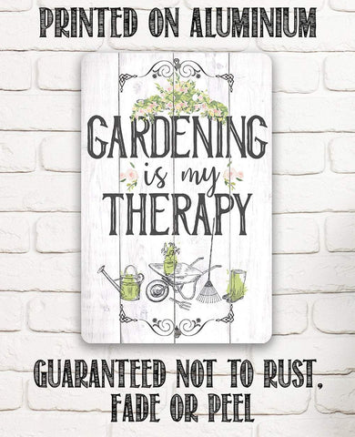 "Image of Tin - Metal Sign - Gardening is Therapy-8""x12"" or 12""x18"" Use Indoor/Outdoor-Gift to Gardening Enthusiasts."
