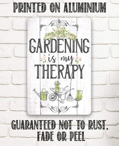 "Tin - Metal Sign - Gardening is Therapy-8""x12"" or 12""x18"" Use Indoor/Outdoor-Gift to Gardening Enthusiasts."