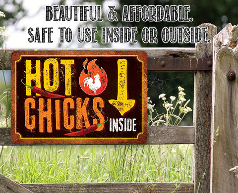"Image of Tin - Metal Sign - Hot Chicks - 8""x12""/12""x18"" Use Indoor/Outdoor - Cute and Funny Chicken Farm Lone Star Art"