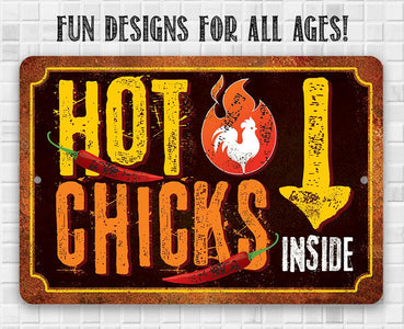 "Tin - Metal Sign - Hot Chicks - 8""x12""/12""x18"" Use Indoor/Outdoor - Cute and Funny Chicken Farm Lone Star Art"