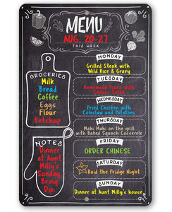 "Tin - Metal Sign - Kitchen Menu Chalkboard- 8""x12"" or 12""x18"" Use Indoor/Outdoor-Kitchen and Dining Decor."
