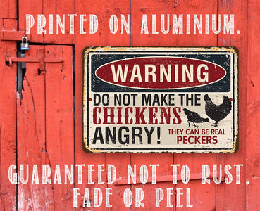 "Tin - Metal Sign - Warning Do Not Make Chickens Angry- 8""x12"" or 12""x18"" Use Indoor/Outdoor - Chicken Farm Lone Star Art"
