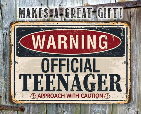 "Image of Tin - Metal Sign - Warning Official Teenager - 8""x12"" or 12""x18"" Use Indoor/Outdoor - Teen's Bedroom Lone Star Art"