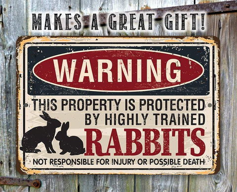 "Image of Tin - Metal Sign - Warning Property Protected By Rabbits - 8""x12"" or 12""x18"" Use Indoor/Outdoor - Pet Bunny Lone Star Art"
