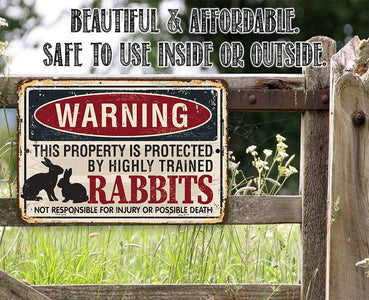 "Tin - Metal Sign - Warning Property Protected By Rabbits - 8""x12"" or 12""x18"" Use Indoor/Outdoor - Pet Bunny Lone Star Art"