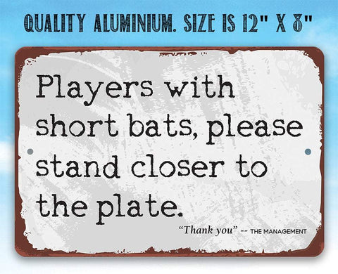 "Image of Tin - Players With Short Bats - Metal Sign - 8""x12"" or 12""x18"" Use Indoor/Outdoor - Funny Bathroom Decor."
